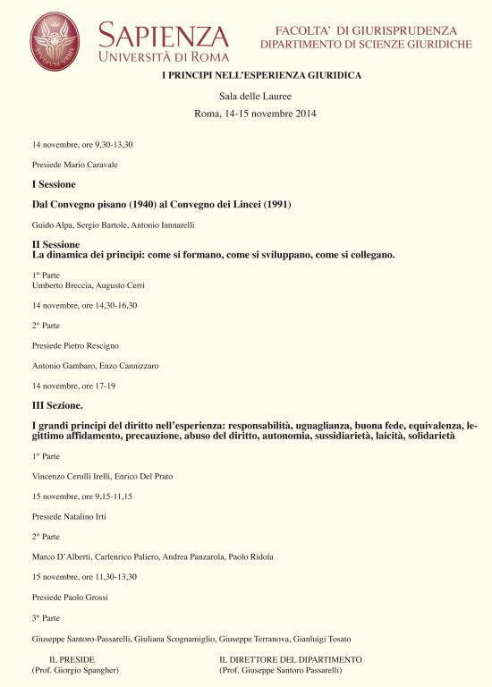 14-15 novembre 2014 – I PRINCIPI NELL'ESPERIENZA GIURIDICA